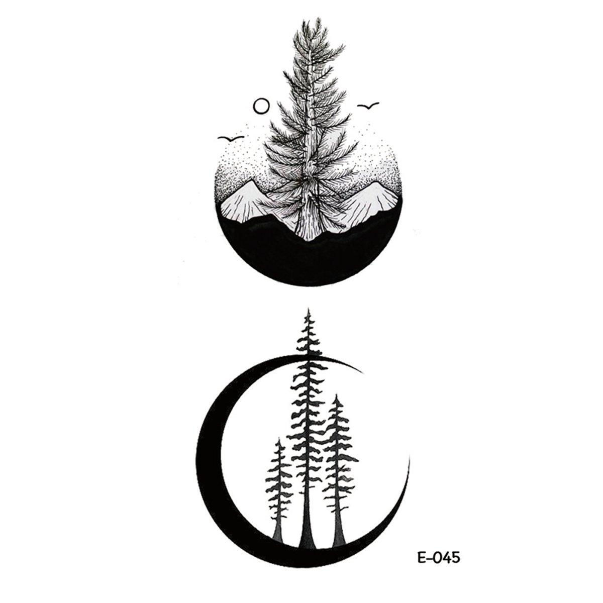 WYUEN 5 Sheets New Design Moon Temporary Tattoo Tree Tattoo Sticker for Women Men Body Art 9.8X6cm FE-045