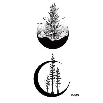 Wyuen 5 Feuilles Nouveau Design Lune Temporaire Tatouage Montagne