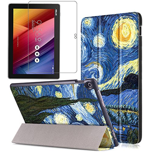 Gzerma Asus ZenPad 10.1 Case with Screen Protector, PU Leather Flip Stand Smart Cover with Auto Wake/Sleep, Ultra Clear Protective Film for Asus ZenPad 10 Z300C Z300CG Z300CL Z300M Tablet, Sky by Gzerma