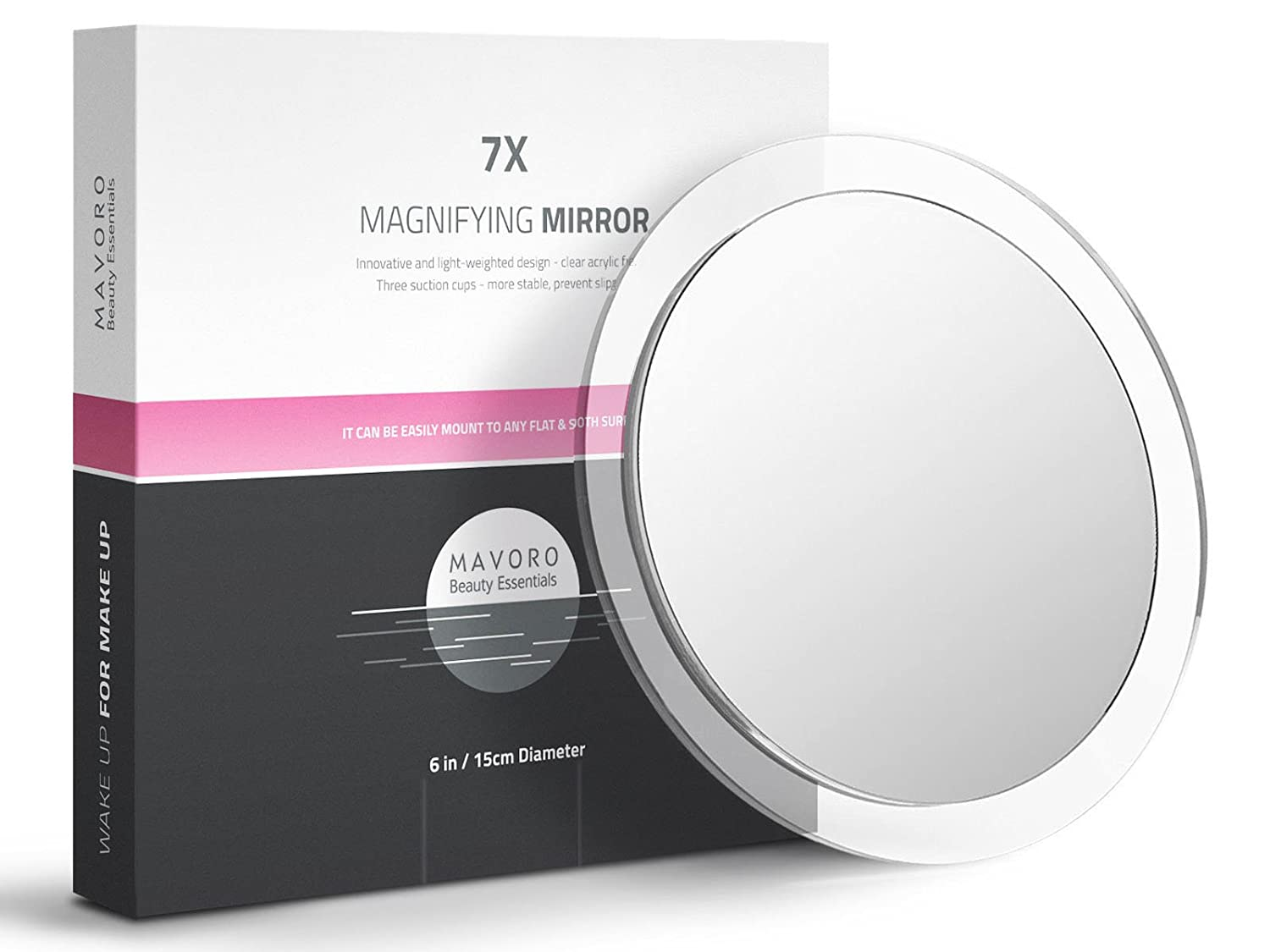Mavoro Magnifying Mirror with Suction Cups - Triple Suction Cup Stick on Mirror with 7X Magnification. Portable Travel Makeup Mirror, Magnified Cosmetic Mirror with Cloth. Mirrors for Dorm Decor