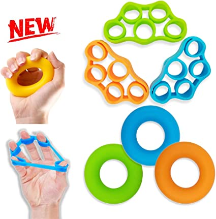 Finger Stretcher Hand Grip Power Strengthener 6 Pack Wrists and Forearm Therapy
