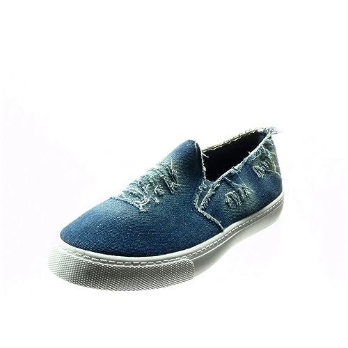 Angkorly - Zapatillas Moda Deportivos Slip-on Mujer tacón Plano 2 CM - Azul F-201 T 40: Amazon.es: Zapatos y complementos