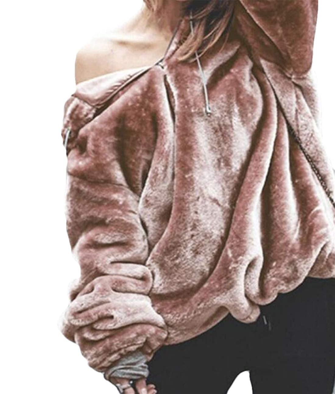 Domple Womens Quarter Zip Pullover Fuzzy Sherpa Hoodie Top Sweatshirt