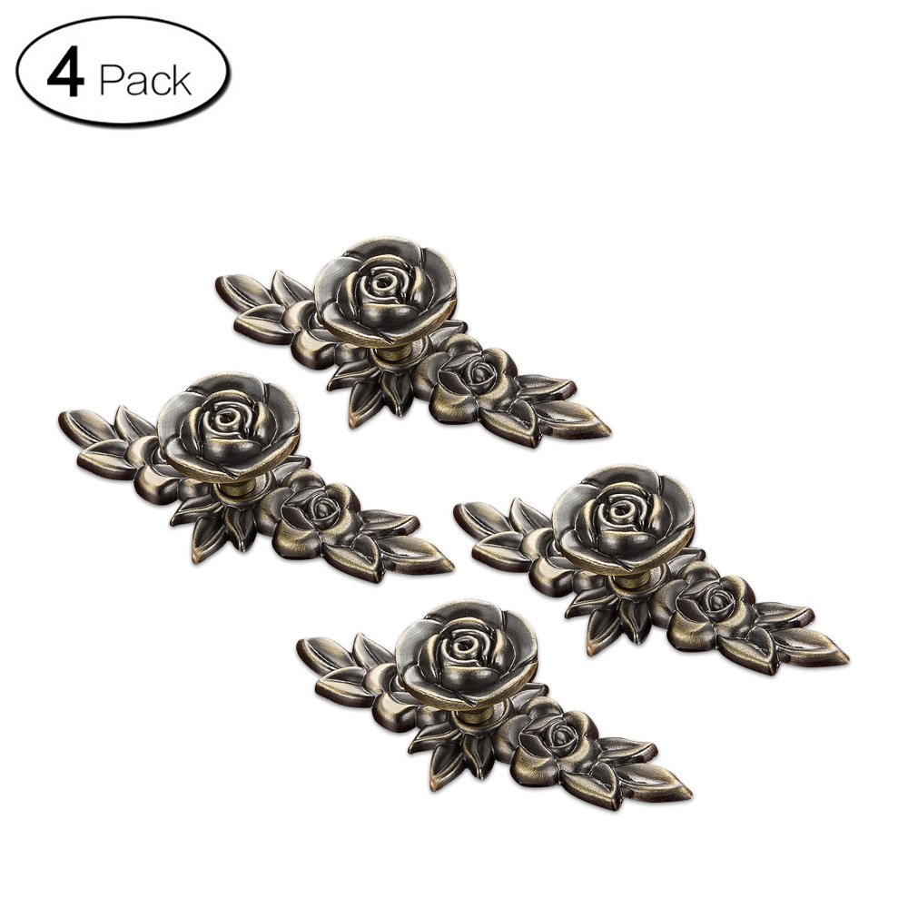 Zhi Jin 4Pcs Luxury Rose Cabinet Knobs with Backplates Door Drawer Knob Pulls Furniture Bronze 103mm/4Inch
