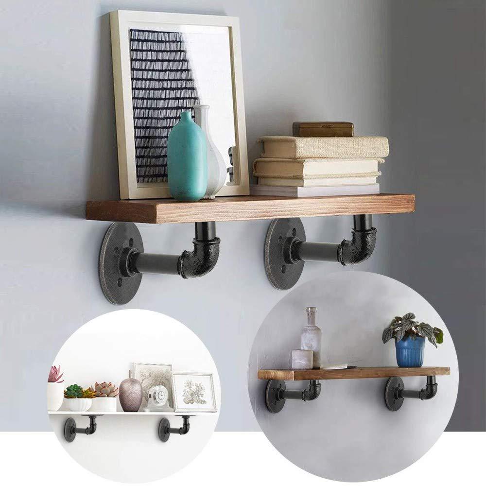 soporte para estante flotante de pared para tienda y decoraci/ón del hogar 12 x 17 cm Kungfu Mall 2 soportes para estante de tuber/ía de hierro industrial vintage