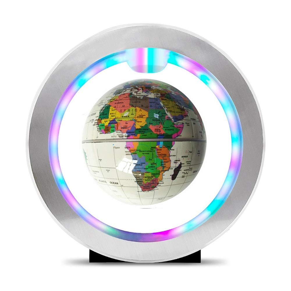 Quisilife World Globe 4 Inch Floating Globe with LED Lights O-Type Magnetic Levitation Rotating World Map for Home Desk Decoration, Geography Education Educational and Fun for School Children Family by Quisilife