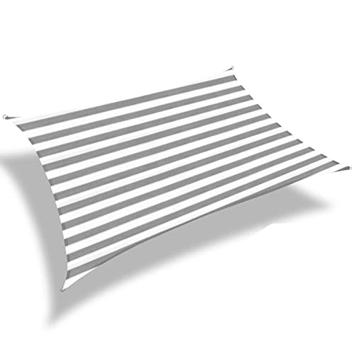 Patio Paradise 7 x 12 Sun Shade Sail with 6 inch Hardware Kit, Gray White Strip Rectangle Canopy Durable Shade Fabric Outdoor UV Shelter Cover – 3 Year Warranty – Custom