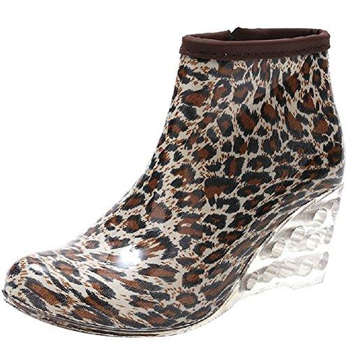 Odema Womens Enkel Hoge Regenlaarzen Zijrits Sleehak Hoge Hak Waterdichte Schoenen Winter Sneeuw Laarzen Bootie # 5single Voering