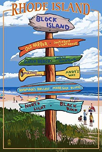 Block Island, Rhode Island - Sign Destinations (12x18 Art Print, Wall Decor Travel Poster) Rhode Island Block Island