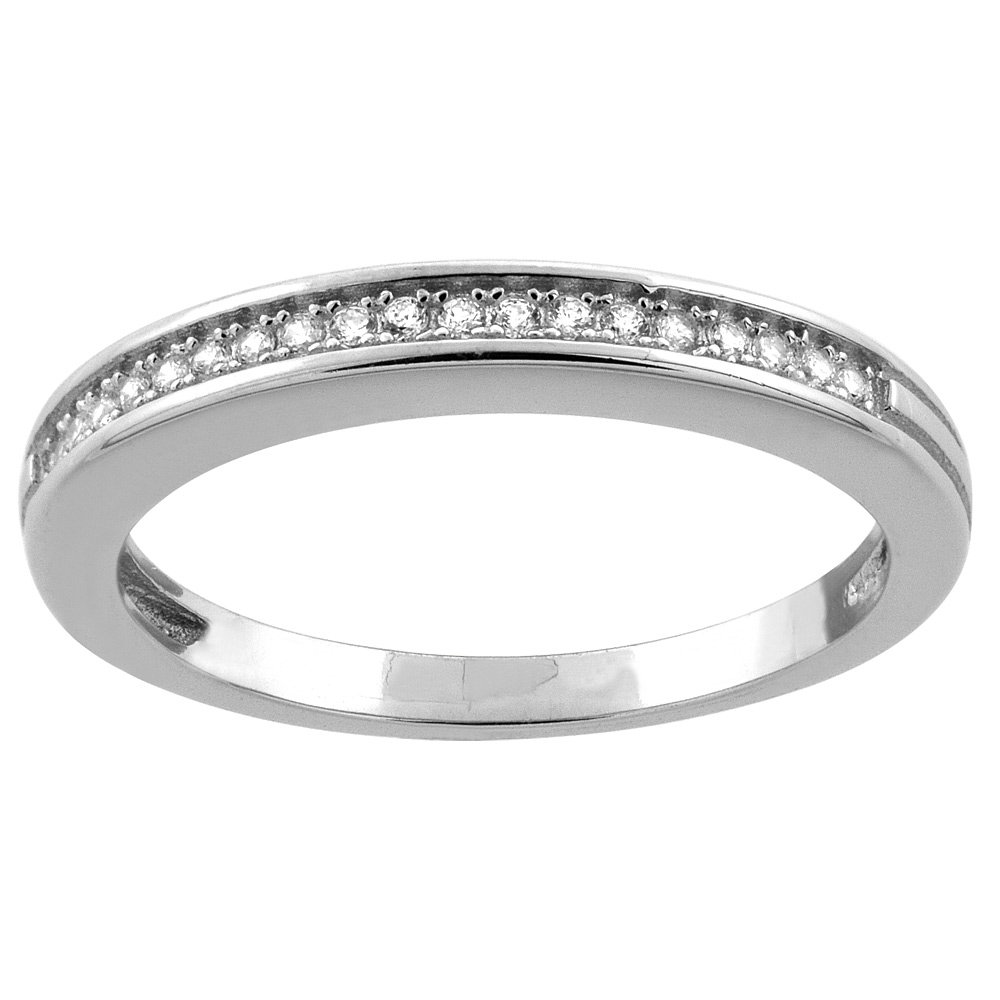 Sterling Silver Micro Pave Cubic Zirconia Ladies' Half Eternity Wedding Band, size 8.5