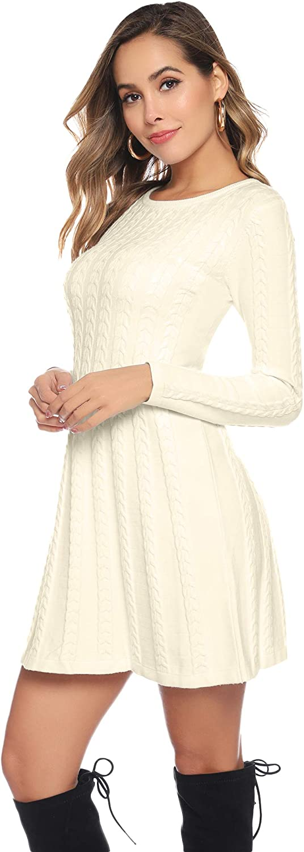 Vestito Elegante Aderente Donna di Girocollo e Accollato Hawiton Vestito Donna in Maglione Abito Invernale a Maniche Lunghe Vestito Casual Donna Autunno di Orlo Svasato Colore Puro a Taglia S-XXL