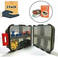 Pill Organizer 10 Compartments Travel Portable, Pill Cases for Purse, Pill Box for Vitamin Translucent Square 2Pcs (Black+White)