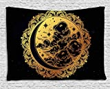 Psychedelic Tapestry by Ambesonne, Authentic Spiritual Ethnic Occult Tribal Medieval Ethnic Pagan Graphic Art, Wall Hanging for Bedroom Living Room Dorm, 60 W X 40 L Inches, Golden Black