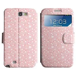 Be-Star Diseño Impreso Colorido Slim Casa Carcasa Funda Case PU Cuero - Stand Function para Samsung Galaxy Note 2 II / N7100 ( Pink Pattern )