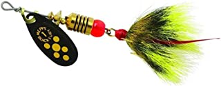 product image for Mepps Black Fury in-Line Spinner, 1/8 oz, Dressed Treble Hook, Yellow Dot Blade with Gray & Yellow Tail
