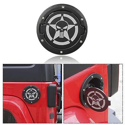 RT-TCZ Fuel Filler Door Cover Gas Cap Exterior Accessories For Jeep Wrangler JK & Unlimited 2007-2020(Skull Logo): Automotive