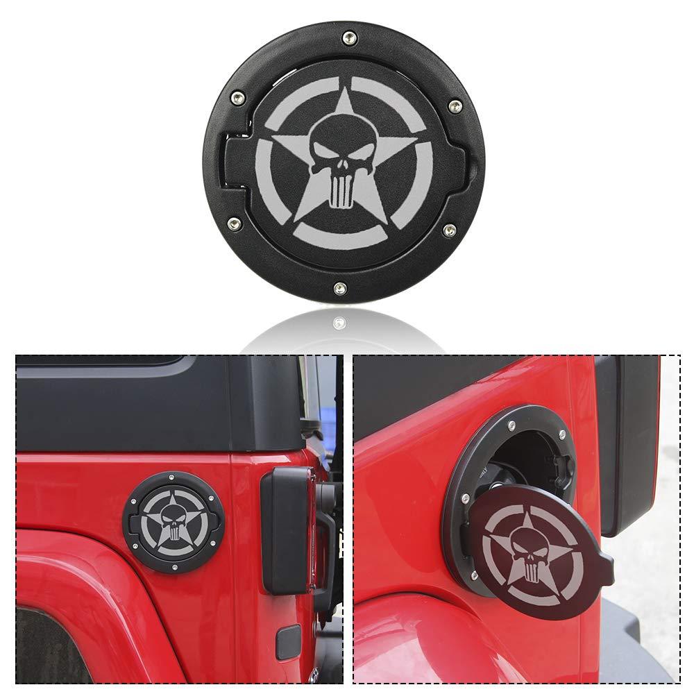 RT-TCZ Fuel Filler Door Cover Gas Cap Exterior Accessories For Jeep Wrangler JK /& Unlimited 2007-2017 Skull Logo