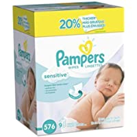Pampers Sensitive Water-Based Baby Diaper Wipes, 9 Refill Packs for Dispenser Tub - Hypoallergenic and Unscented - 576…