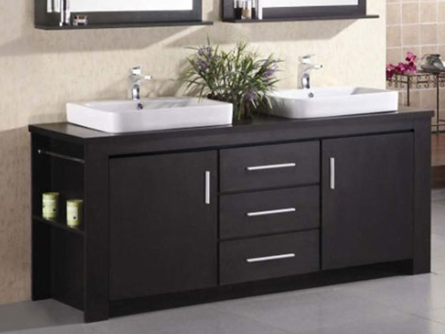 Design Element Washington Double Drop-In Vessel Sink Vanity Set with Three Drawers and Espresso Finish, 72-Inch
