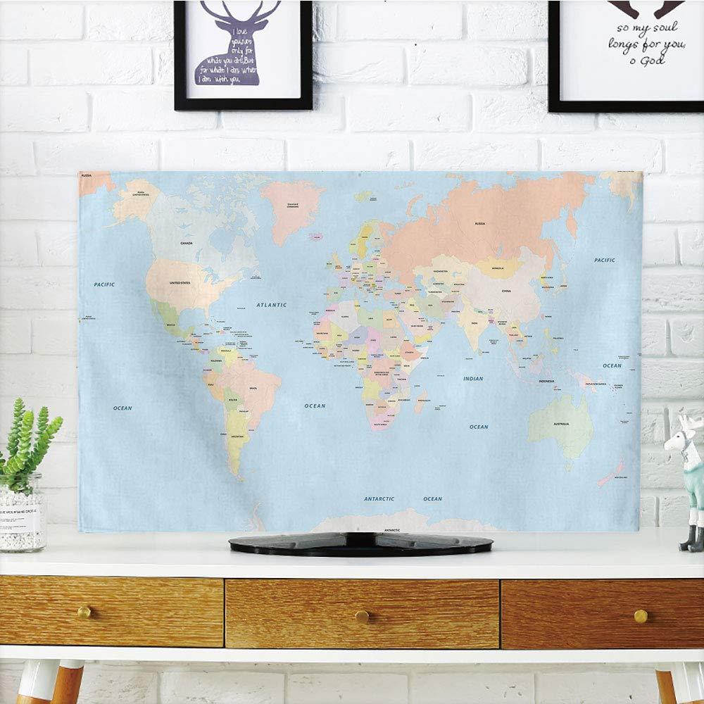 Amazon com: iPrint LCD TV Cover Lovely,Map,Old Fashioned