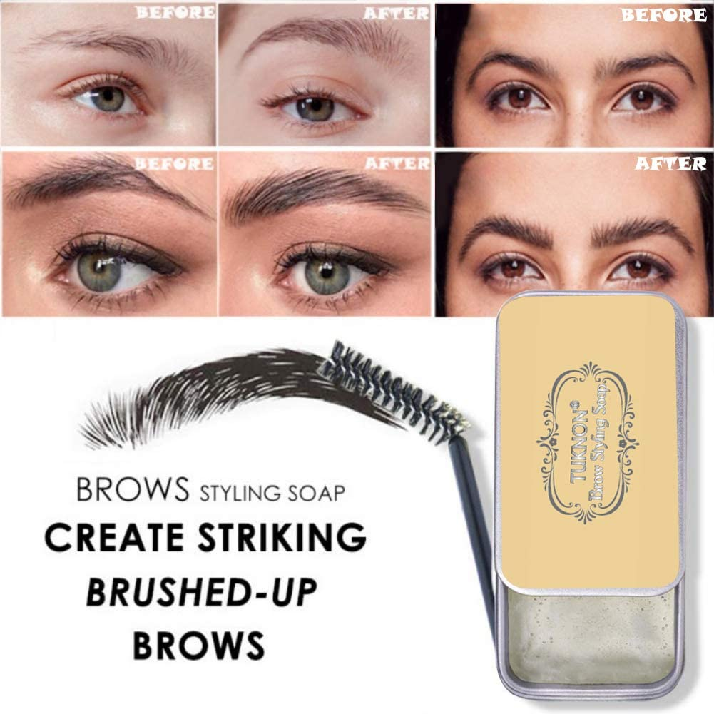 Jabón para Cejas, Soap Brows, Eyebrow Soap Kit, Gel para Jabones de Cejas en 3D Crema, Wild Eyebrow Shape Soap, Jabón para dar Forma a Las Cejas, ...