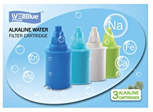 Alkaline Water Replacement Filter 3 Pieces - Pioneer in the Market WellBlue Compatible with many Brands (Blue)