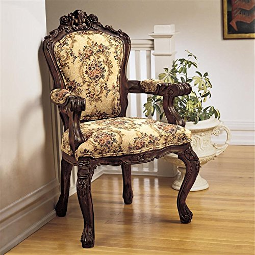 Furniture Antique Victorian - Design Toscano AF307 Rocaille Carved Victorian Armchair, 41 Inch, Cherry