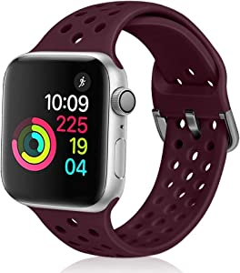 XFYELE Compatible with Apple Watch Band 42mm 44mm Soft Breathable Sport Silicone Replacement Strap Compatible for iWatch Series 6, 5, 4, 3, 2, 1 for Women and Men (Dark Red, 42mm/44mm)