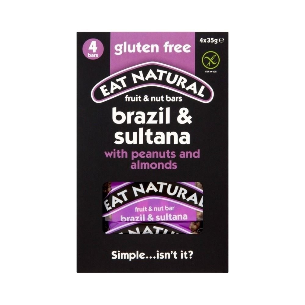 Eat Natural Gluten Free Bars Brazils Sultanas Almonds Peanuts and Hazelnuts (4x35g) - Pack of 2