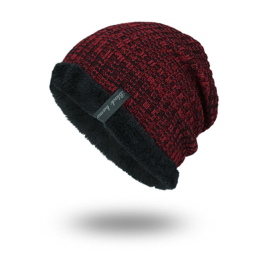 Hmlai Fashion Hat,Unisex Winter Beanie Hat Warm Snow Knit Hats Windproof Circle Scarf Slouchy Skull Cap (Wine Red)