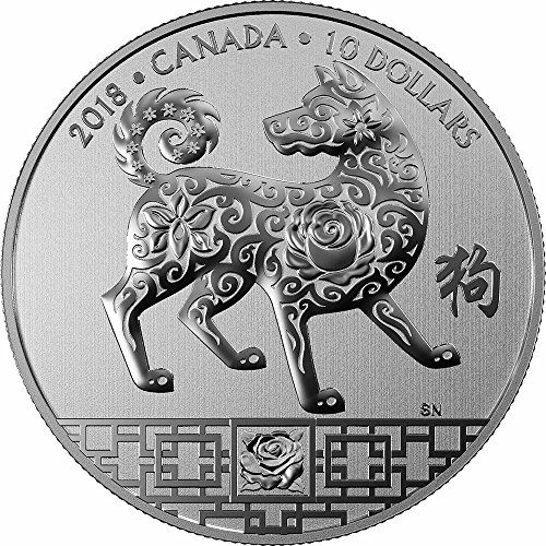 2018 CA Modern Commemorative YEAR OF THE DOG Lunar Silver Coin 10$ Canada 2018 15.87 Gr Uncirculated