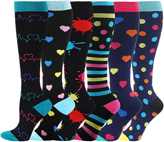 Colorful Dots And Stars Compression Socks For Women Casual Fashion Crew Socks