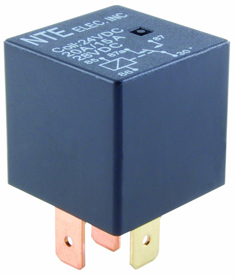 NTE Electronics R51-1D40-12 Series R51 Automotive Relay, SPST-NO Contact Arrangement, 0.250'' Quick Connect Terminal, 1.6W Power, 50 Amp, 12VDC