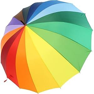 iX-brella Parapluie XXL Léger et large avec poignée douce Arc-en-ciel 129 cm