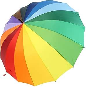 Paraguas XXL iX-Brella multicolor, de arcoiris, tamaño grande de 129cm, con mango de agarre suave