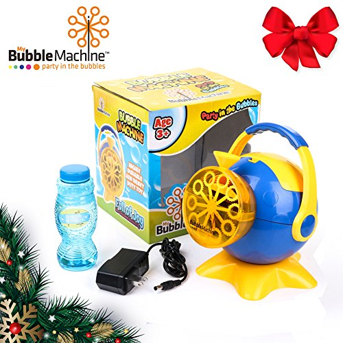 BLACK FRIDAY DEAL Battery Operated High Output Bubble Machine with 500 Bubbles per Minute for Indoor and Outdoor - Automatic Bubble Blower with AC Adaptor - Bubble Solution and E-Book Included
