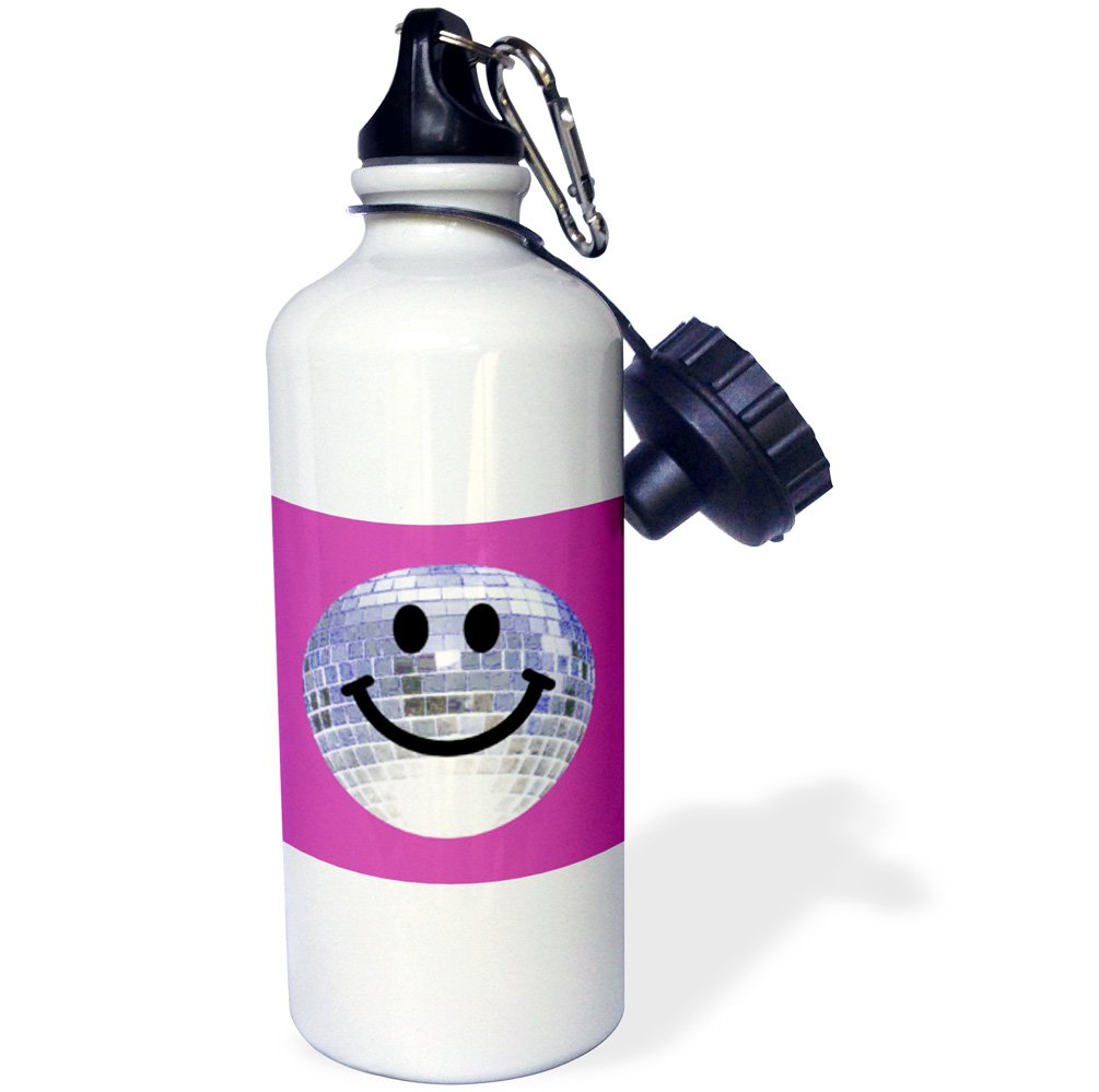 3dRose wb_76663_1'' Silver Disco Ball Smiley Face seventies 70s style Disco ball Dance hall diva smilie on purple pink Sports Water Bottle, 21 oz, White