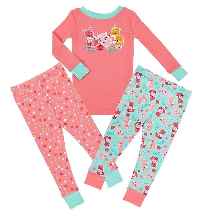 Kirkland Signature Girls Mix and Match 3 Piece Organic Cotton Pajama Set  (6 213254c34