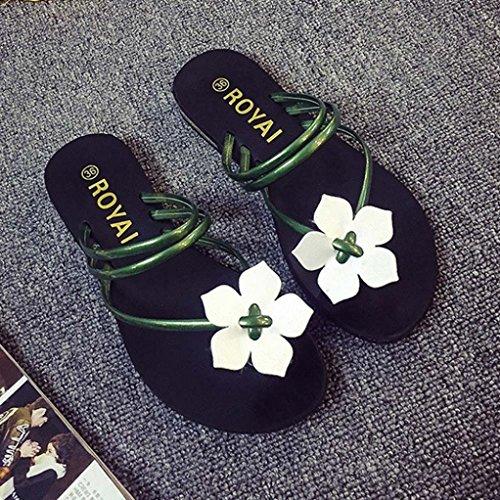 Pantoufles Femme Flops Amlaiworld Fleur Beach Chaussures de D'Été Flip Sandales Thongs Vert Tissées Dame Bohême de Peep Toe qq5Oxa
