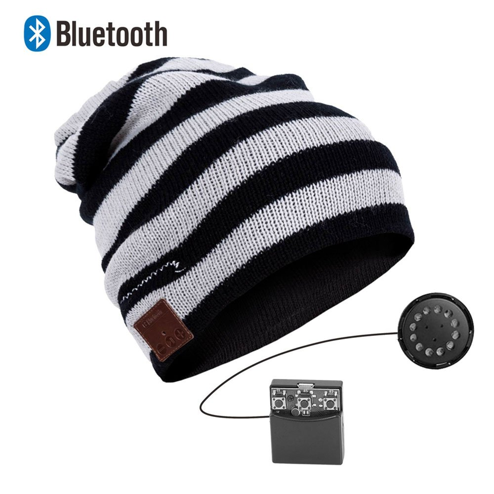 EnzoDate Bluetooth Beanie Stereo Headphone Wireless Handsfree Knit Hat Winter
