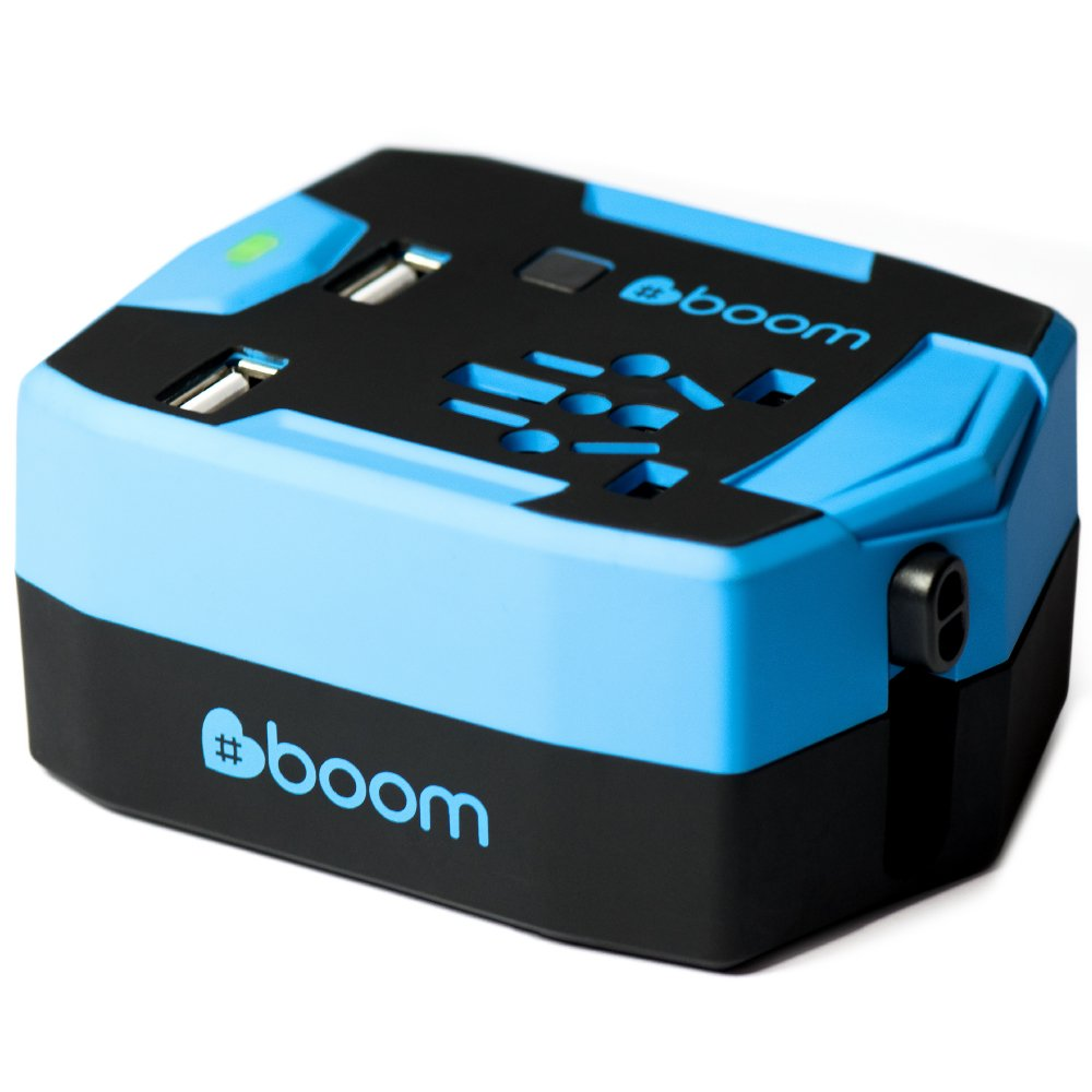 #boom Travel Adapter Power Bank. ULTIMATE TRAVEL ADAPTOR Portable USB CHARGER Wall Plug with Built In 6000mAh POWER BANK External Battery & 2.5A 2 Port Fast USB Charger. Simultaneous AC Power & USB Charging. International 150+ Countries inc. UK EU USA Thai