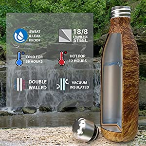 Insulated Stainless Steel Water Bottle - Endangered Species Edition - Metal Thermo Style Bottles Great For Sports, Gym, Kids, Travel - Keeps Drinks Hot & Cold - 17 Oz Large - Red Wolf