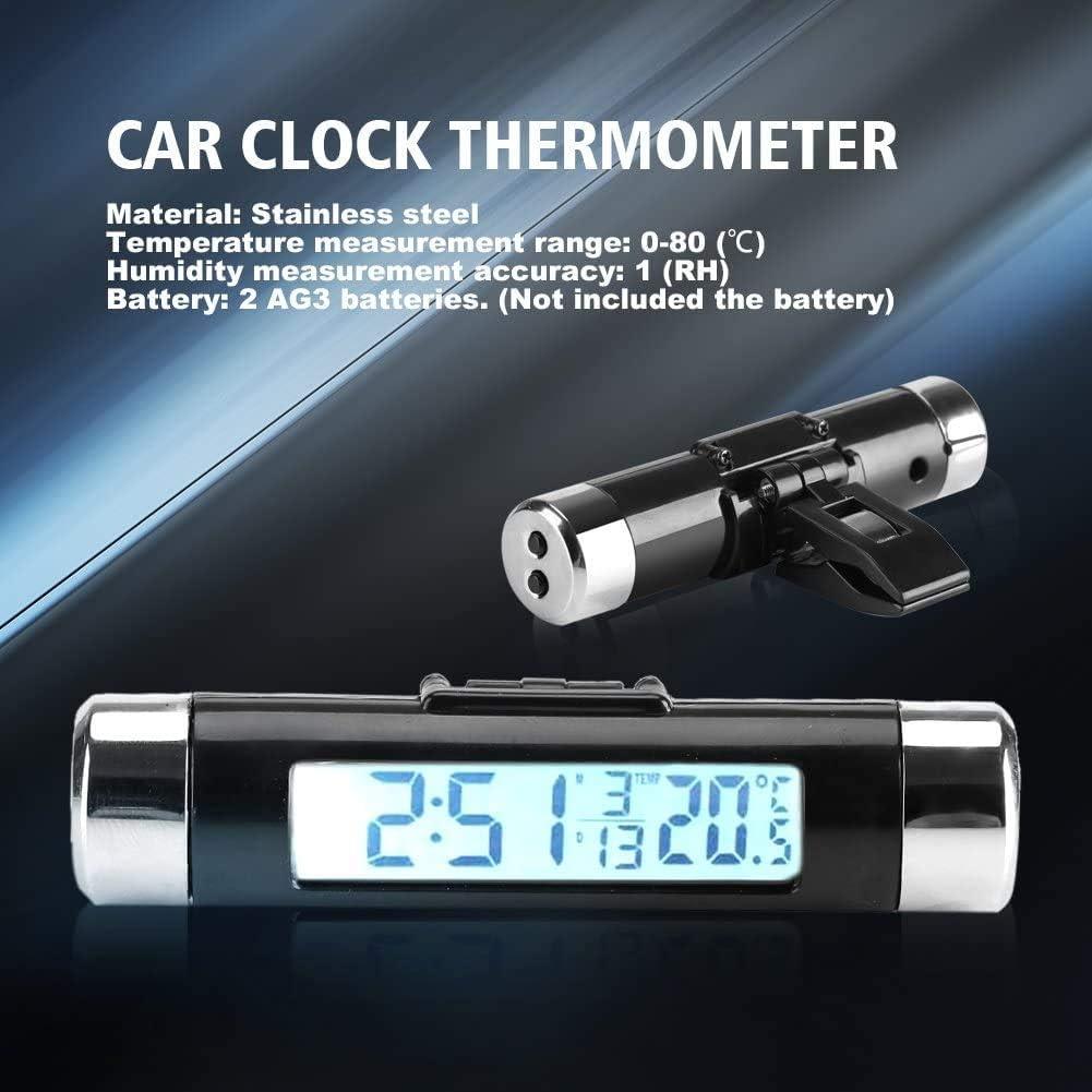 Tableau De Bord Num/érique Automatique Horloge Temp/érature V/éhicule Gauge avec R/étro-/Éclairage Horloge Clipser Voiture Thermom/ètre, R/étro-/Éclairage Bleu IQQI Temp/érature Voiture