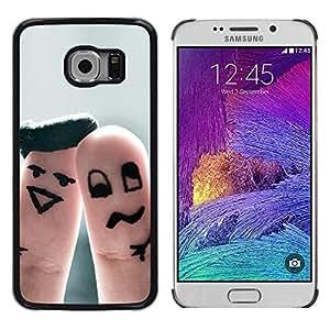 LECELL -- Funda protectora / Cubierta / Piel For Samsung Galaxy S6 EDGE SM-G925 -- Funny Finger Couple --