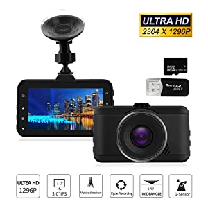 Ultra HD Dash Cam, 1296P Car Dash Cam Car Recorder 3 Inch LCD, 170 Degree Wide Angle Lens, Night Vision, WDR, G-Sensor, Loop Recording with 16GB SD Card