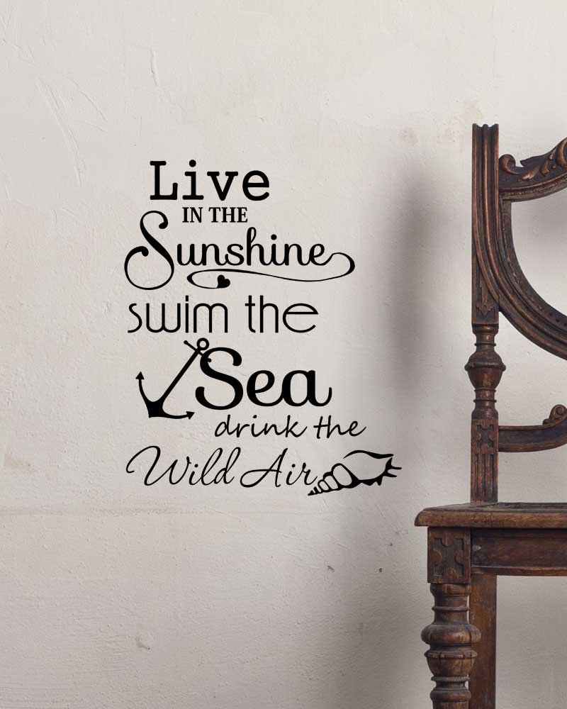 Amazoncom Wall Decal Live In The Sunshine Swim The Sea Drink The - Wall decals beach quotes