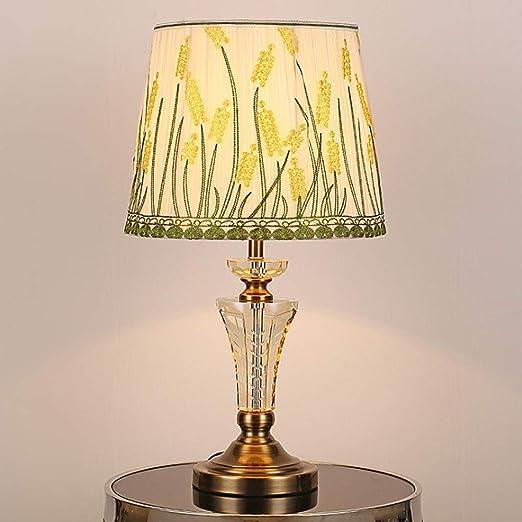 HZC Lámpara de Mesa de Cristal Tradicional con Pantalla de Tela ...