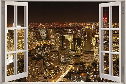 City Night Scene Window Poster Art Print Home Decor 3D Window View Living Room Bedroom