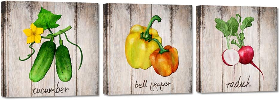 iHAPPYWALL 3 Pieces Kitchen Wall Decor Art Prints Bell Pepper Radish Cucumber Colorful Vegetables Food Botanical Pictures Prints on Canvas Stretched and Framed For For Home Modern Decoration
