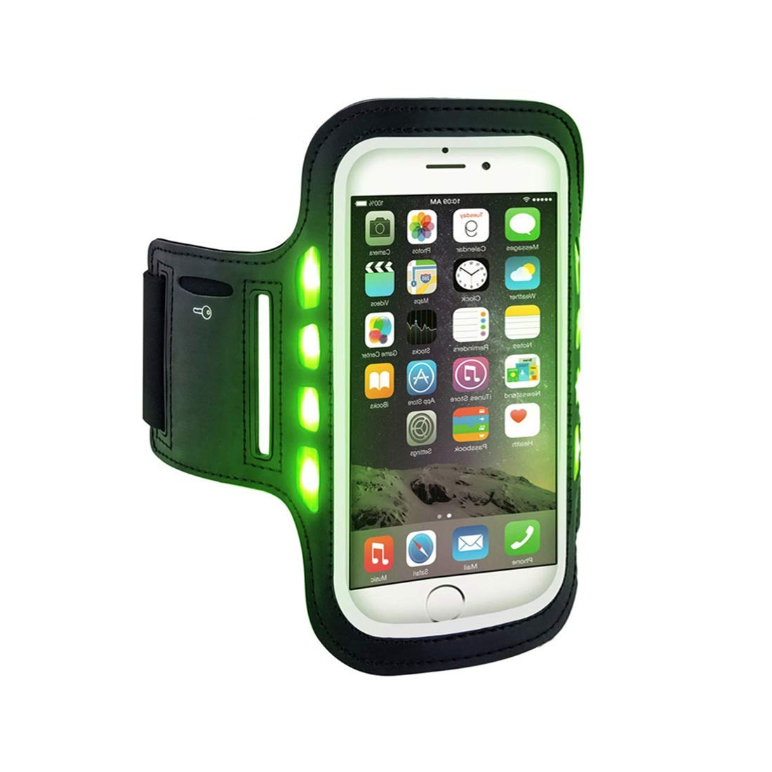 Hemengjuan Outdoor Sports Fitness Bag, Outdoor Led Cycling Fitness Mobile Phone Arm Band (Color : Green) by Hemengjuan